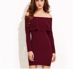 Off the Shoulder Burgundy Dress